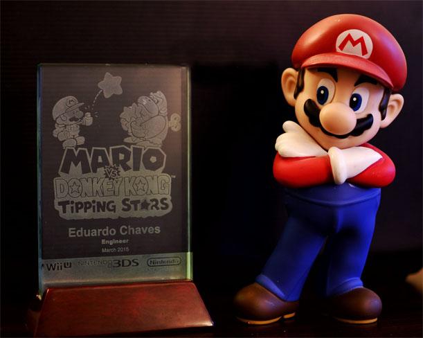 Placa Nintendo recebido pelo Eduardo