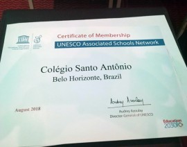Colégio Santo Antônio é certificado como Escola Associada à UNESCO